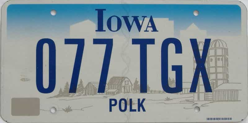 IA (Single) license plate for sale