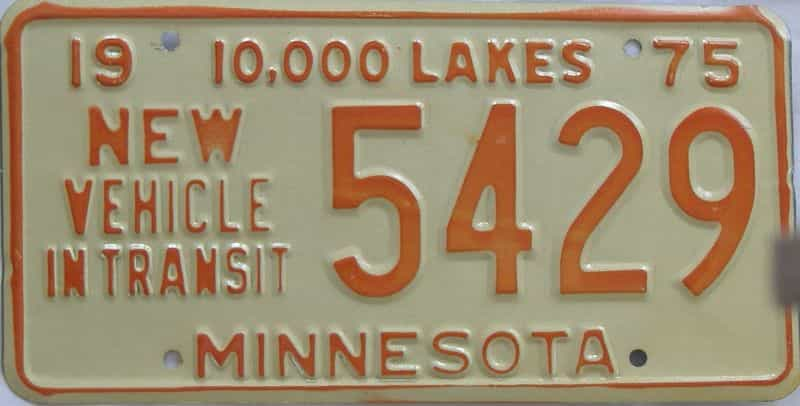 1975 MN (Non Pass) license plate for sale