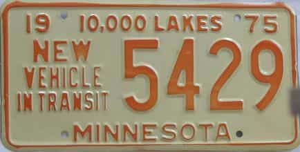 1975 Minnesota (Non Pass) license plate for sale