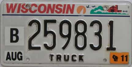 2011 Wisconsin (Truck) license plate for sale