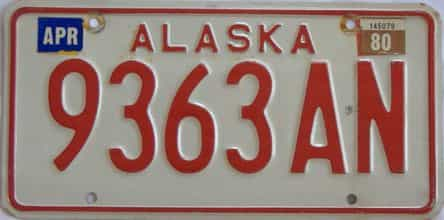 1980 Alaska (Single) license plate for sale