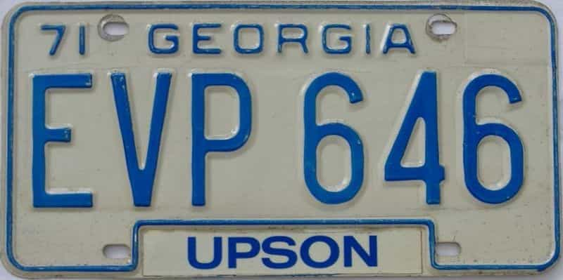 1971 GA license plate for sale