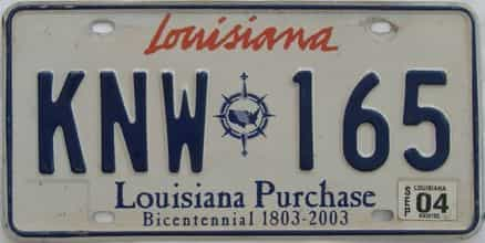 2004 Louisiana license plate for sale