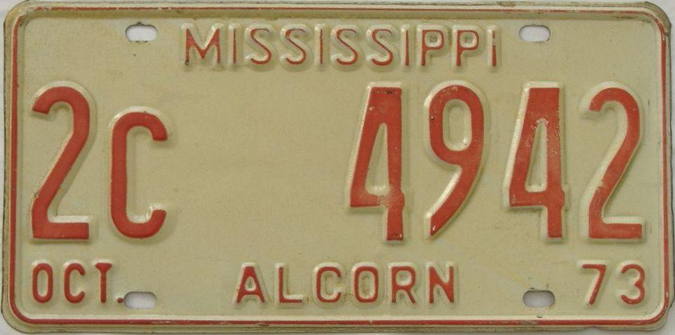 1973 Mississippi license plate for sale