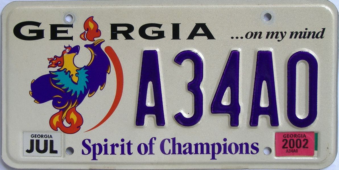 2002 Georgia license plate for sale