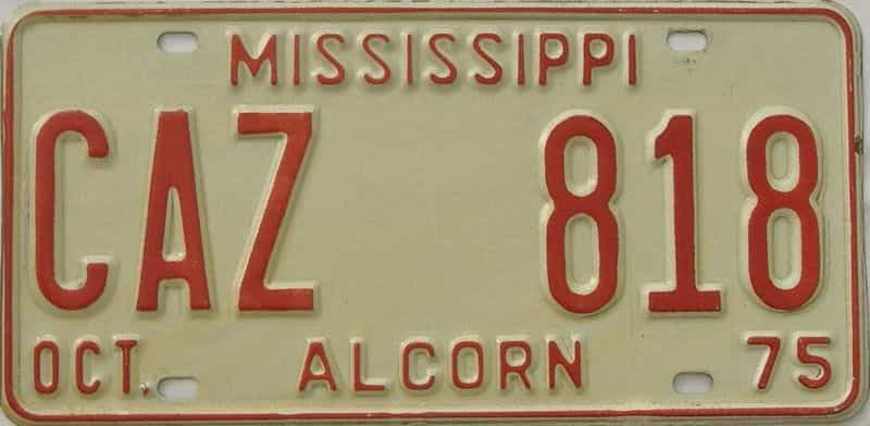 1975 Mississippi license plate for sale