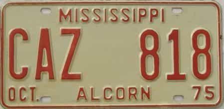 1975 Mississippi license plate for sale