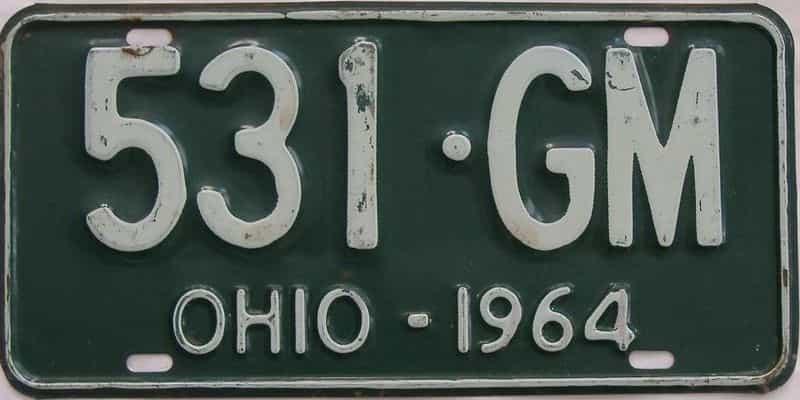 1964 Ohio (Single) license plate for sale