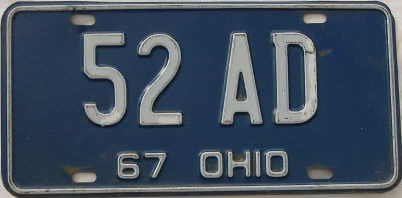 1967 OH (Single) license plate for sale