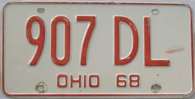 1968 Ohio (Single) license plate for sale