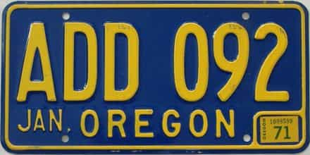 1971 Oregon (Natural Single) license plate for sale