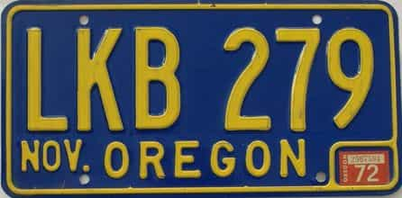 1972 Oregon (Natural Single) license plate for sale