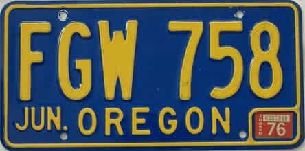 1976 Oregon (Natural Single) license plate for sale