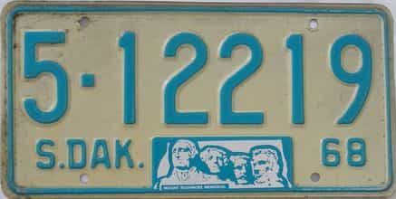 1968 South Dakota (Single) license plate for sale