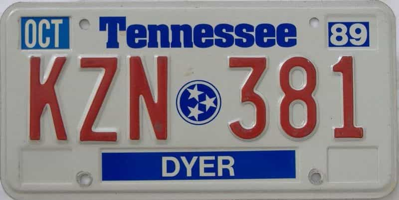 1989 TN license plate for sale