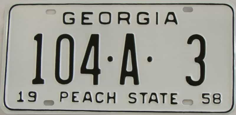 YOM RESTORED 1958 GA license plate for sale