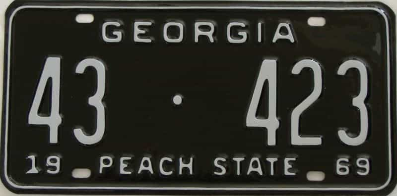 YOM RESTORED 1969 GA license plate for sale