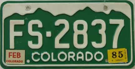 1985 Colorado (Single) license plate for sale