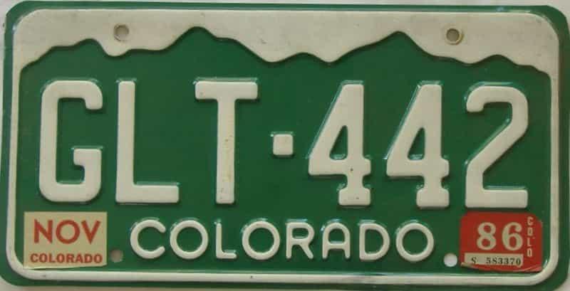 1986 Colorado (Single) license plate for sale