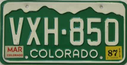 1987 Colorado (Single) license plate for sale