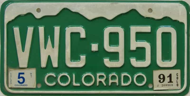 1991 CO (Single) license plate for sale