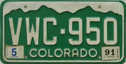 1991 Colorado (Single) license plate for sale