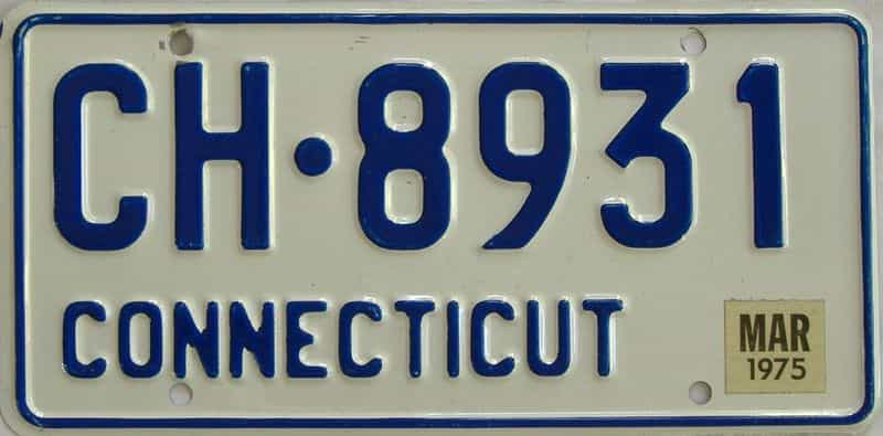 1975 Connecticut (Single) license plate for sale