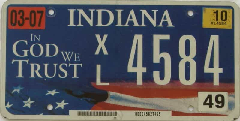 2010 Indiana license plate for sale