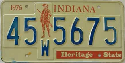 1976 Indiana license plate for sale