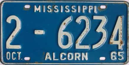 1965 Mississippi license plate for sale