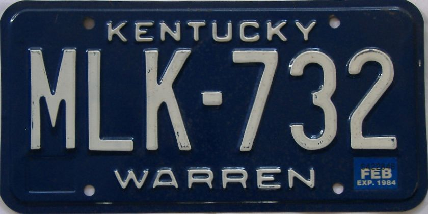 1984 Kentucky license plate for sale