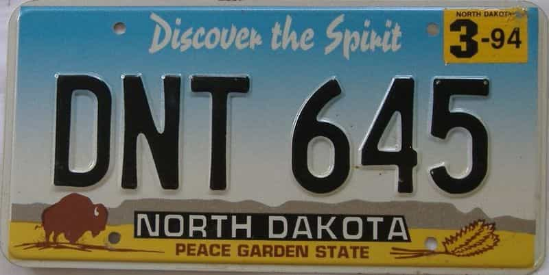 1994 North Dakota (Single) license plate for sale