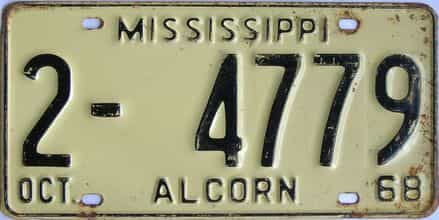 1968 Mississippi license plate for sale
