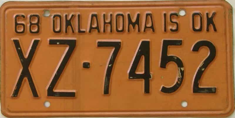 1968 Oklahoma (DMV not clear) license plate for sale