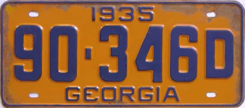 YOM 1935 GA (Single) license plate for sale