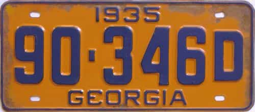 YOM 1935 Georgia (Single) license plate for sale