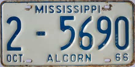 1966 Mississippi license plate for sale
