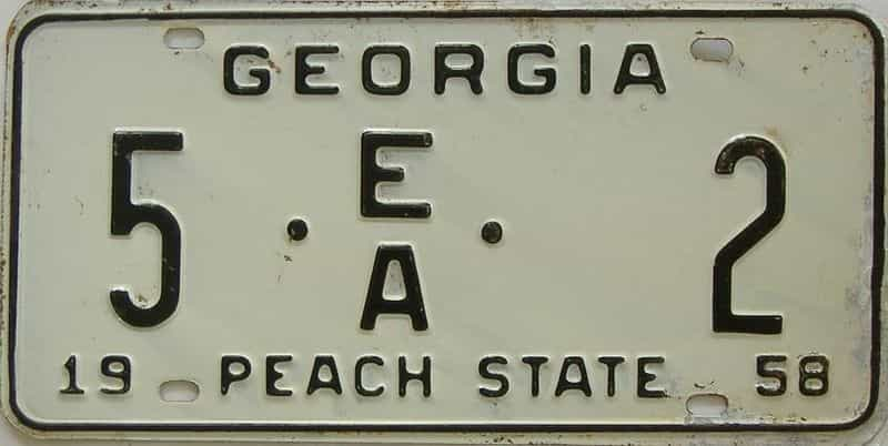 YOM 1958 GA (Trailer) license plate for sale