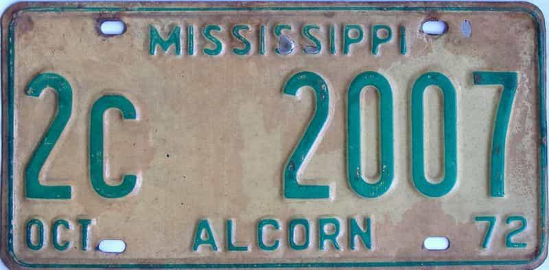 1972 Mississippi license plate for sale