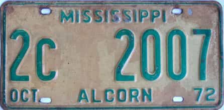 1972 Mississippi license plate for sale