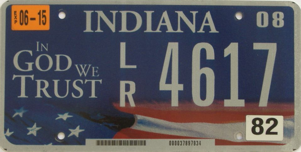 2015 Indiana license plate for sale