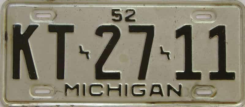 1952 MI (Single) license plate for sale