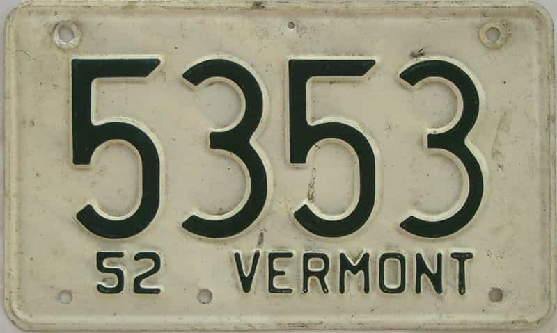 1952 VT (Single) license plate for sale