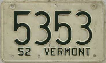 1952 Vermont (Single) license plate for sale