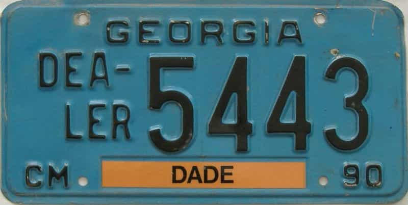 1990 GA (Dealer) license plate for sale