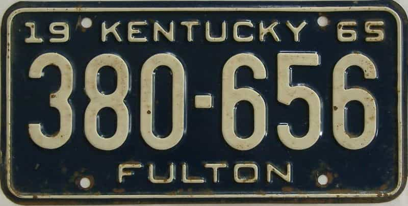 1965 Kentucky license plate for sale
