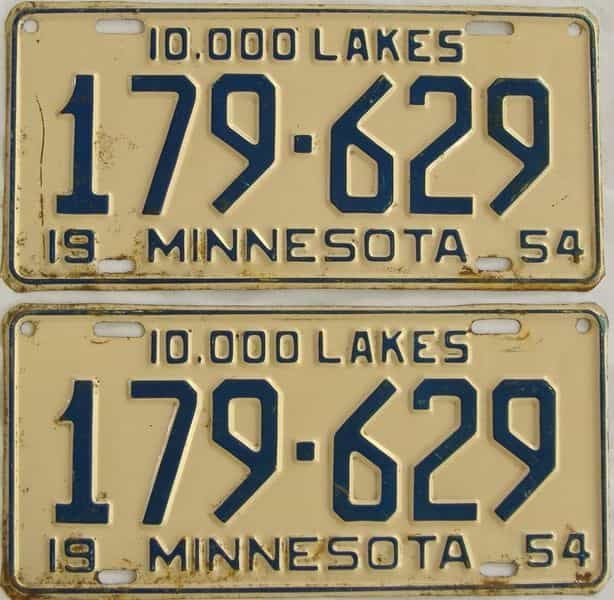 1954 MN (Pair) license plate for sale