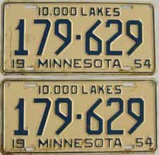 1954 Minnesota (Pair) license plate for sale