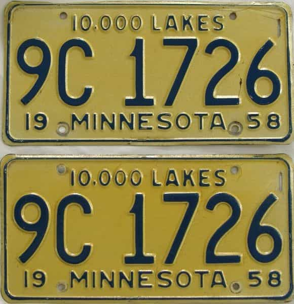 1958 Minnesota  (Pair) license plate for sale