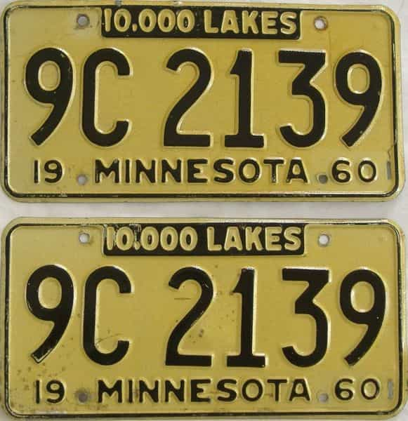 1960 MN (Pair) license plate for sale